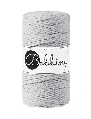Bobbiny macrame triple twist 3 mm wolzolder Light Grey