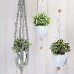 macrame zpagetti hanging basket